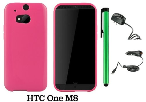 Htc One (M8) Solid Plain Color Tpu Protector Back Cover Case (2014 Q1 Released; Carrier: Verizon, At&T, T-Mobile, Sprint) + Travel (Wall) Charger & Car Charger + 1 Of New Assorted Color Metal Stylus Touch Screen Pen (Pink)