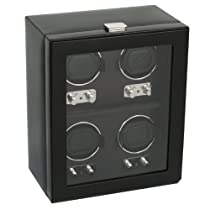 Wolf Designs Module 2.1 Heritage 4 Piece Watch Winder with Cover, Black