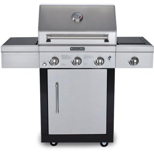 KitchenAid 25-Inch 3 Burner Propane Gas Grill On Cart With Side Burner