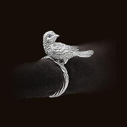 Platinum Bird Swarovski Crystal Eyes Napkin Rings Set of 4 by L'Objet