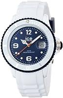 ICE-Watch - Montre Mixte - Quartz Analogique - Ice-White - White - dark blue - Unisex - Cadran Bleu - Bracelet Silicone Blanc - SI.WB.U.S.11
