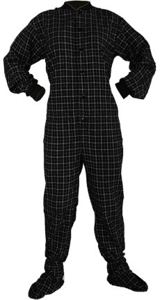 Details for Big Feet PJs Black Plaid 100% Cotton Flannel Adult Footed Pajamas No Drop-seat