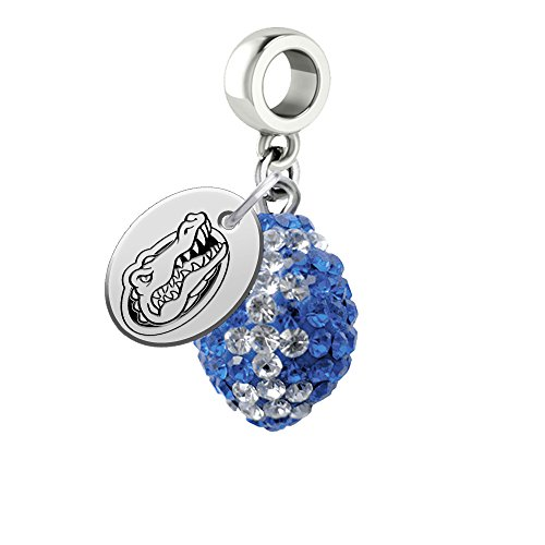 Florida Gators Crystal Football Drop Charm Fits All European Style Bracelets