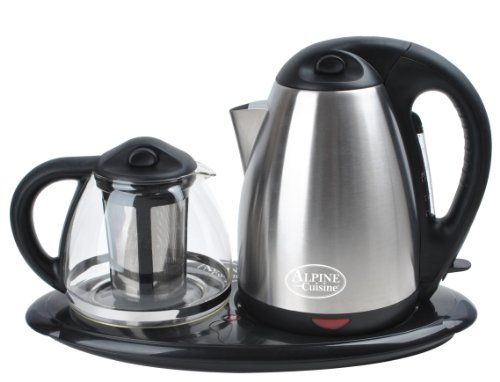 Review Tea Maker Set - Dual Electric Kettles Stainless Steel & Glass with Keep Tea Warm Tray