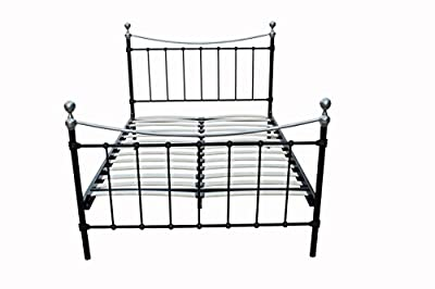 New Alderley Plus Metal Bed Frame in Black Colour with Chrome Finals - Double Size (4.6 FT) - Improved Design and Excellent Quality