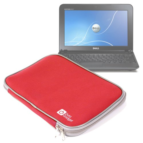Durable Red Neoprene Laptop Case For Dell Inspiron Mini 1018 & ASUS Eee PC 10.1, By DURAGADGET