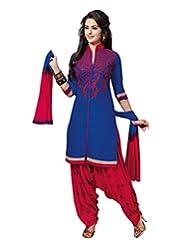 PShopee Royal Blue & Red Cotton Reshim Embroidery Punjabi Patiyala Special Unstitched Dress Material