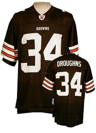 Cleveland Browns Mens NFL Football Jersey Reuben Droughns #34 Brown (Medium)