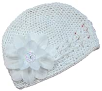 Claribel Crochet Baby Hat (White Hat/White Flower)