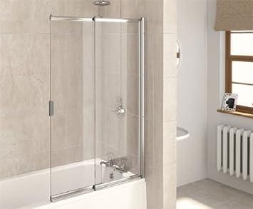 aqualux pare baignoire coulissant 2 panneaux blanc transparent 820 mm bricolage m195. Black Bedroom Furniture Sets. Home Design Ideas