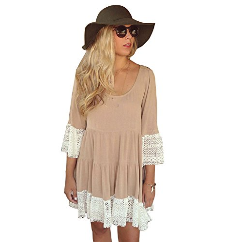 MIXMAX Bohemian Lace Splice Loose Tunic Dress (X-Large, khaki)