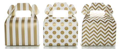 Gold Candy Box Set, Wedding Favor Boxes (36 Pack) - Striped, Chevron & Polka Dot Party Favor Treat Boxes, Small Square Gable Gift Box (Dessert Table Containers compare prices)