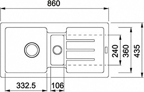 Franke Strata STG 651-86 Einbau-Spüle Fragranit Graphit Siebkorb- Excenterventil