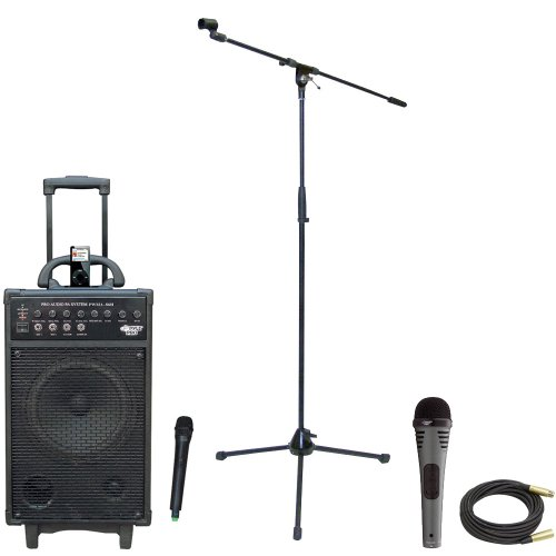 Pyle Speaker, Mic, Stand And Cable Package - Pwma860I 500W Vhf Wireless Portable Pa System /Echo W/Ipod Dock - Pdmik2 Professional Moving Coil Dynamic Handheld Microphone - Pmks2 Tripod Microphone Stand W/Boom - Ppmcl50 50Ft. Symmetric Microphone Cable Xl