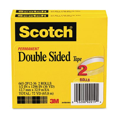 Scotch® - 665 Double-Sided Tape, 1/2 x 1296, 3 core, Transparent, 2 Rolls - Sold As 1 Pack - A no-mess alternative to glue for light duty attaching and mounting tasks.