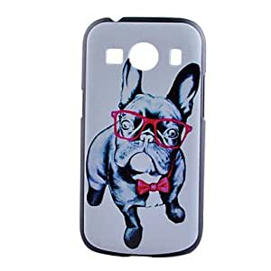 GENERIC Glasses Dog Pattern Black PC Material Phone Case for Samsung Galaxy Core Prime