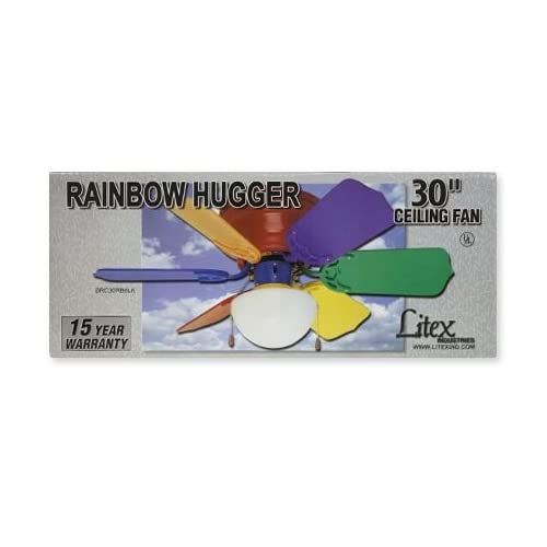 Litex 30 Inch Ceiling Fan MultiColor Rainbow Hugger Light