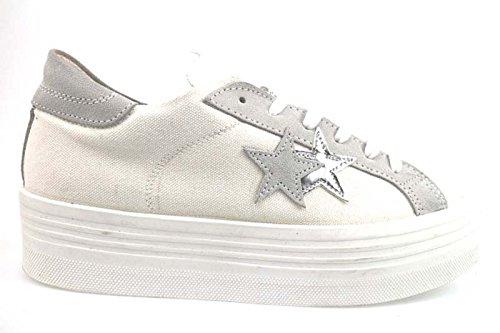scarpe donna 2 STAR 41 EU sneakers bianco camoscio / tessuto AP711-C