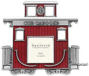 Red Caboose fine pewter collectible train car frame - First At SendAFrame