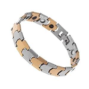 VULCAN Silver & Gold Tungsten Magnetic Mens Bracelet