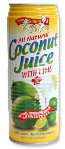Amy & Brian Natural Coconut Juice  Lime, 12 - 17.5oz Cans