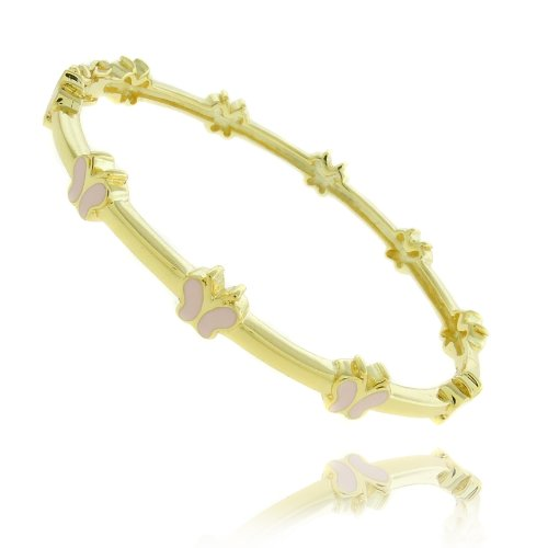 Lily Nily 18k Gold Overlay Pink Enamel Butterfly Design Children's Bangle