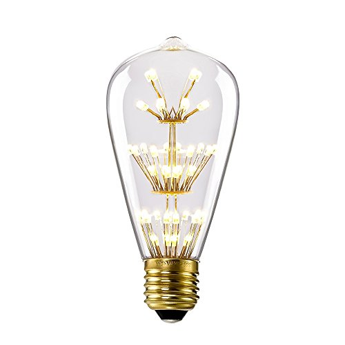 Kiven ST64 Vintage Edison Design A19 E26 2200K Warm White Retro Energy Save Beautiful and Romantic Starry Decorative 3W LED Light Bulbs for Holiday Christmas Indoor Party Antique 110V Not Dimmable 0