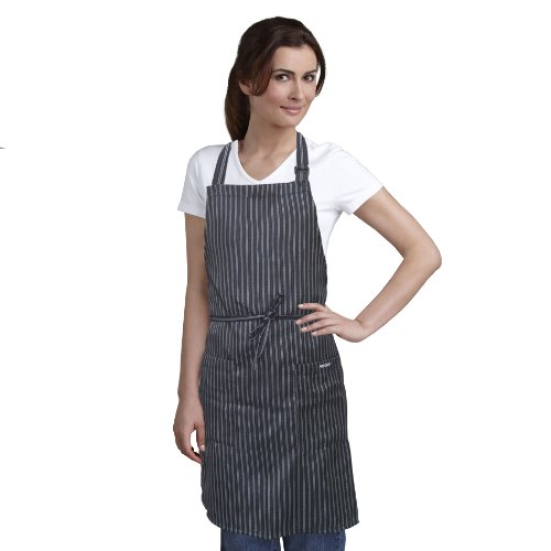Bib Apron Striped with Pockets - Kitchen and Restaurant Apron for Men and Women - Perfect for Chef and Restaurant Uniforms - Chef Wear for All Cooking, Grill and Barbeque Uses - Black Apron with White Pinstripe 27 Inches X 31.5 Inches