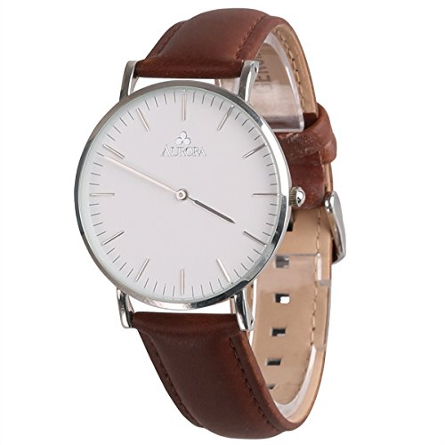 Aurora Women's Metal Retro Casual Round Dial Quartz Analog Wrist Watch with Brown Leather Band-Silver (Round Dial Analog Watch compare prices)