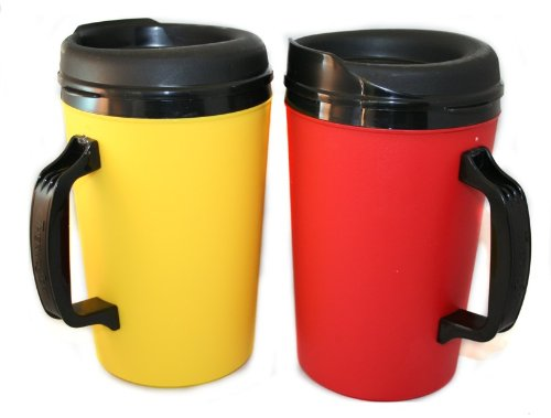 2 Thermoserv Foam Insulated Coffee Mugs 34 Oz (1) Yellow & (1) Red