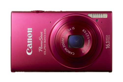 Canon 6027B004 PowerShot ELPH 320 HS 16.1 MP Wi-Fi Enabled CMOS Digital Camera and Case (Red)