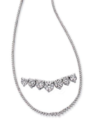 14K White Gold 7.91cttw Round Diamond Necklace