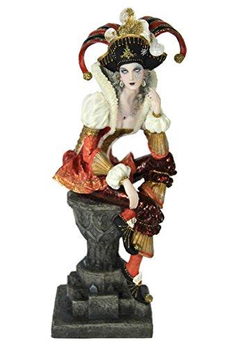 Casa Collection 11098 Eleganter Harlekin auf grauer Säule sitzend, Breite 8, Höhe 25 cm, Kostüm pastell / lachs / weiß / gold