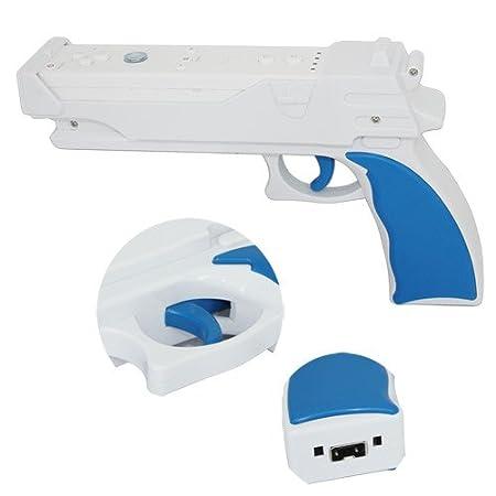 Skque Light Gun Controller for Nintendo Wii, White, Blue