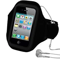 Extreme Sports Exercise Stretchy Black Armband with 8 Secure Adjustable Sizes ( Adjustable from 11 inches up to 19 Inches ) for Apple iPhone 4 , 4th Generation, 4th Gen compatible with 16GB / 32GB - HD Print + Includes a eBigValue (TM) Determination Hand Strap
