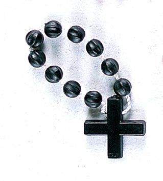 Finger Ring Rosary - Black with Nylon - MADE IN ITALY