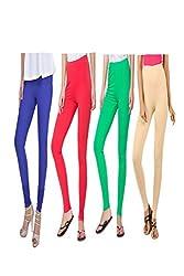 kannan Women's Cotton Blended Churidar Leggings (pack of 4)