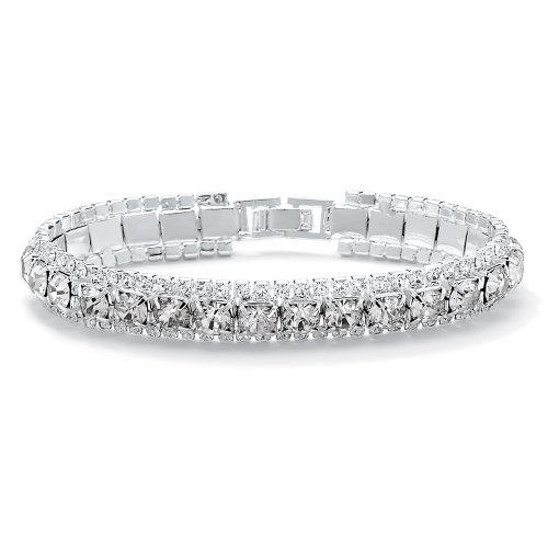 Palm Beach Jewelry - Silvertone Birthstone and Crystal Tennis Bracelet - April- Simulated Diamond