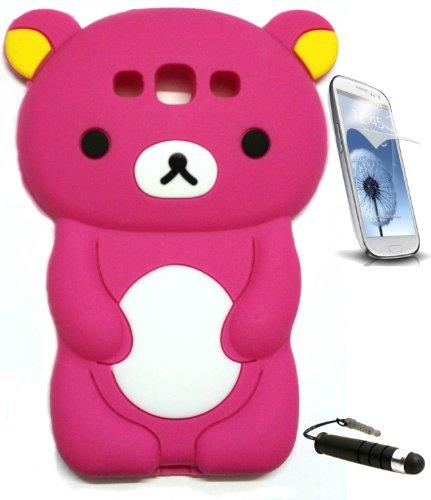 Hot Pink Rilakkuma Bear 3D Cartoon Soft Silicone