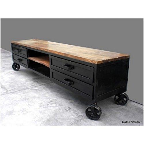Mobiletto porta TV su ruote, design industriale, 160 cm