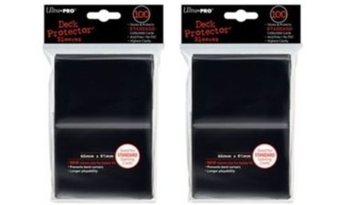 (200) Ultra-Pro Black Deck Protector Sleeves 2-Packs - Standard Magic The Gathering Size