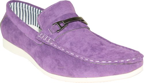 CORONADO Men Casual Shoe CODY-2 Comfort Loafer Style with a Moc-Stitched Toe and Buckle Details Purple 9M
