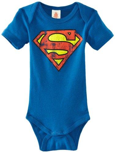 Logoshirt Baby Body Superman - Logo, neonati, Cotone, colore:  Azzurro, taglia 50/56, 0-2 mesi