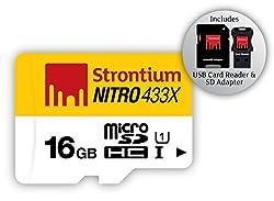 Strontium NITRO 433X 16GB MicroSDHC UHS-1 Memory Card (SRN16GTFU1C)