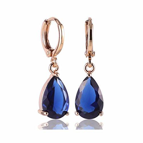 GULICX-Gold-Electroplated-Blue-Teardrop-Crystal-Cubic-Zirconia-Leverback-Pierced-Drop-Earrings
