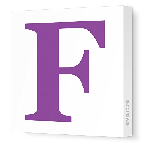 "Avalisa Stretched Canvas Upper Letter F Nursery Wall Art, Purple, 28"" x 28"""