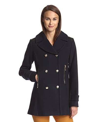 Vince Camuto Women's Peacoat with Faux Leather