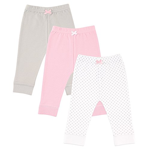 Luvable Friends 3-Pack Tapered Ankle Pants, Pink & Gray, 9-12 Months