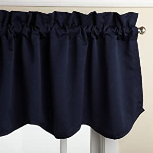 Lorraine Home Fashions Whitfield 52-inch by 18-inch Scalloped Valance, Navy