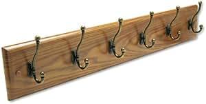 Safco 4217MO Medium Oak Multi-Hook Wall Coat Rack
